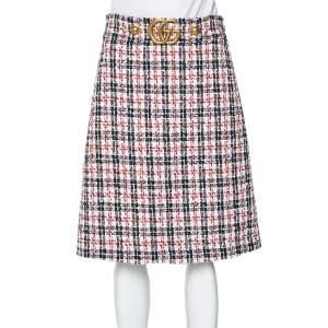 Gucci Multicolor Tweed Metal Logo Belt Detail A-Line Skirt M