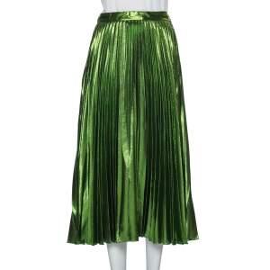 Gucci Green Lurex Plisse Silk Midi Skirt M