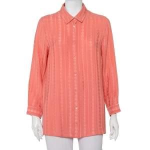 قميص غوتشي حرير جاكار وردي بأزرار مقاس كبير - لارج