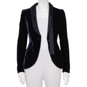 Gucci Navy Blue Velvet Satin trim Button Front Blazer S