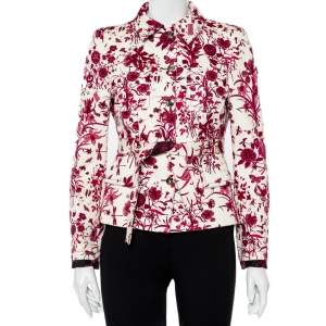 Gucci Cream Floral Printed Cotton Belted Button Front Jacket M