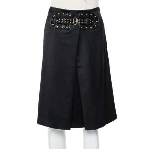 Gucci Black Wool Pleated Detail Belted Skirt S