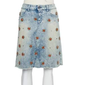 Gucci Blue Denim Crystal Embellished Mini Skirt S