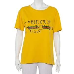 Gucci Yellow Cotton Logo Printed Coco Capitan Distressed T-Shirt S