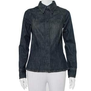 Gucci Navy Blue Denim Button Front Shirt S