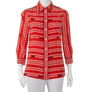 Gucci Coral Red Abstract Logo Printed Silk Button Front Shirt S