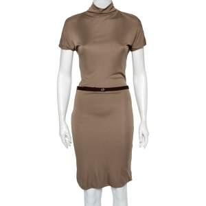 Gucci Beige Jersey Cowl Neck Belted Midi Dress M