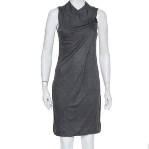 Gucci Grey Knit Draped Sleeveless Shift Dress S