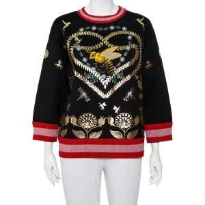 Gucci Black Jersey Laminated Heart & Applique Bee Contrast Trim Detail Sweatshirt M