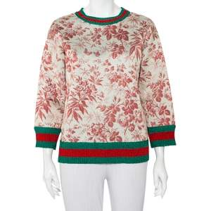Gucci Floral Printed Neoprene Contrast Trim Sweatshirt S