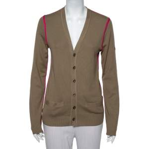 Gucci Beige Silk & Cashmere Contrast Trim Button Front Cardigan M