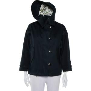 Gucci Black Cotton Canvas Zip Front Hooded Jacket S