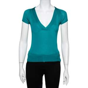 Gucci Green Silk Knit Plunge Neck Top XS