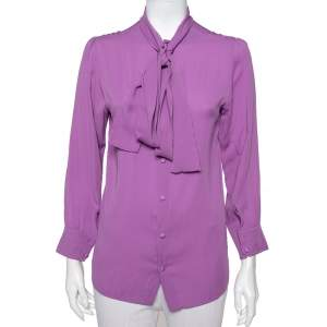 Gucci Purple Silk Neck Tie Detail Top M