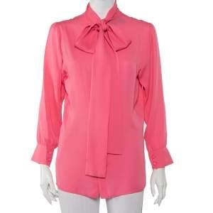 Gucci Pink Silk Neck Tie Detail Top M