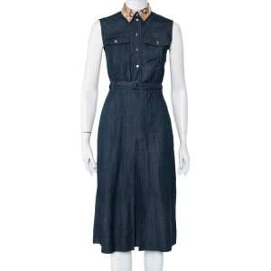 Gucci Dark Grey Cotton Python Collar Detail Sleeveless Belted Midi Dress S