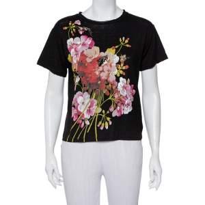 Gucci Black Embellished Floral Printed Linen T-Shirt XS