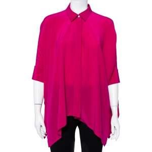 Gucci Fuschia Pink Silk Button Front Cape Shirt XS