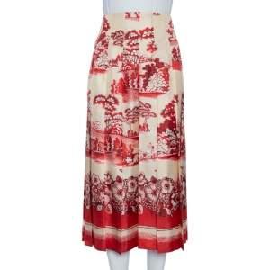 Gucci Cream Floral Printed Silk Pleated Midi Skirt M