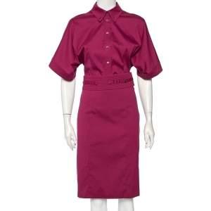 Gucci Purple Stretch Cotton Belted Midi Shirt Dress M