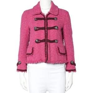 Gucci Pink Tweed Tiger Button Detail Jacket M