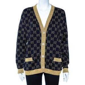 Gucci Black Logo Monogram Lurex Knit Button Front Oversized Cardigan M
