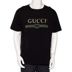 Gucci Black Logo Printed Cotton Distressed Oversized T-Shirt M