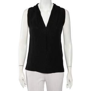 Gucci Black Textured Silk Crepe Sleeveless Top S