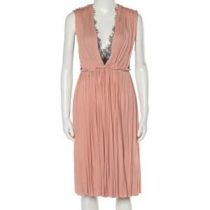 Gucci Blush Pink Chiffon & Lace Paneled Grecian Midi Dress XS