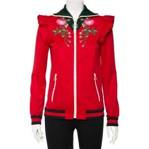 Gucci Red Jersey Floral Embroidered Technical Jacket S
