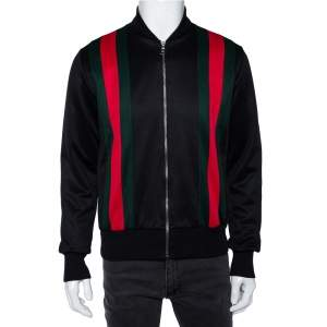 Gucci Black Jersey Web Stripe Detail Technical Bomber Jacket S
