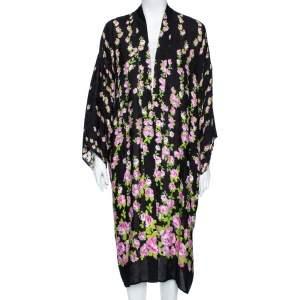 Gucci Black Climbing Roses Print Jacquard Silk Kimono L