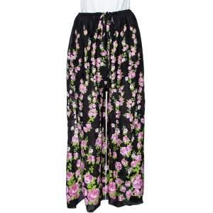 Gucci Black Climbing Roses Print Jacquard Silk Wide Leg Trousers L