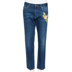 Gucci Blue Denim Tiger & Flower Embroidered Detail Regular Fit Jeans L