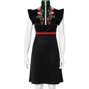 Gucci Black Floral Embroidered Knit Turtle Neck Dress S