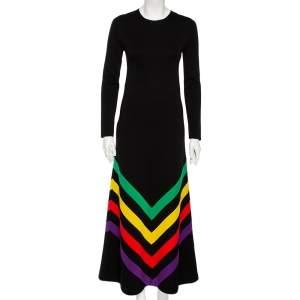 Gucci Black Silk Knit Chevron Print Flared Maxi Dress S