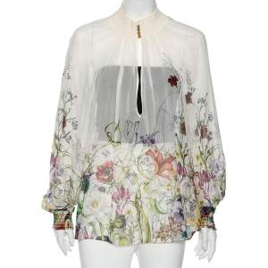 Gucci White Floral Print Crepe Silk Blouse S