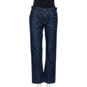 Gucci Blue Denim Leather Tab Detail Regular Fit Jeans M