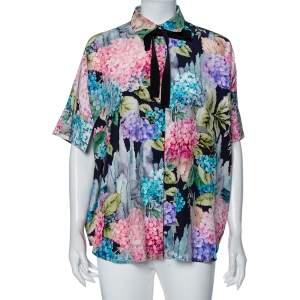Gucci Multicolored Hydrangea Print Silk Cape Blouse S