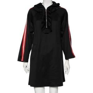 Gucci Black Jersey Logo Jacquard Striped Sleeve Trim Detail Hooded Dress M