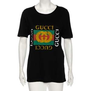 Gucci Black Washed Out Logo Cotton Oversized T-shirt S