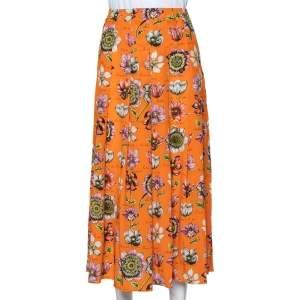 Gucci Orange Floral Printed Silk Pleated Midi Skirt M