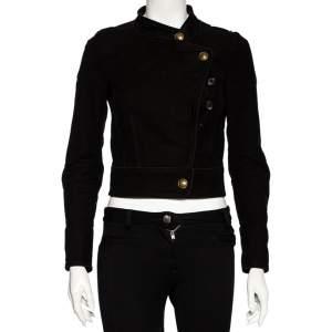 Gucci Black Cotton & Leather Applique Detailed Jacket S