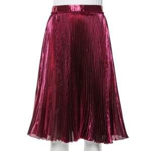 Gucci Magenta Lame Silk Plisse Midi Skirt S
