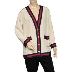 Gucci Cream Silk Web Stripe Button Front Cardigan L