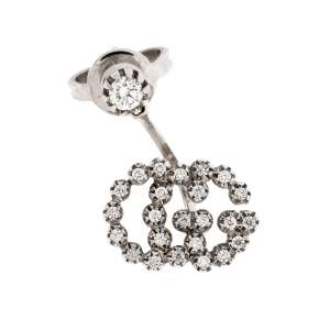Gucci Run G Diamond 18K White Gold Single Earring