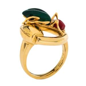 Gucci Horsebit Beetle Malachite Coral Diamond 18K Yellow Gold Cocktail Ring Size 54