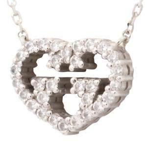 Gucci 18K White Gold Love Britt Diamond Pendant Necklace