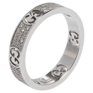 Gucci Icon Diamond 18k White Gold Band Ring Size 53