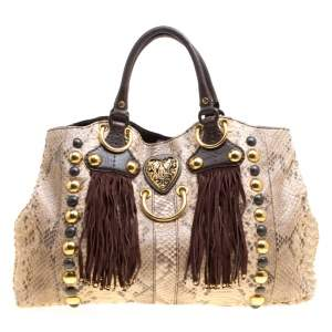 Gucci Beige/Brown Python and Leather Large Babouska Heart Tote